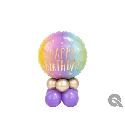 Happy Birthday Ombré Cake Balloon Bouquet Designs