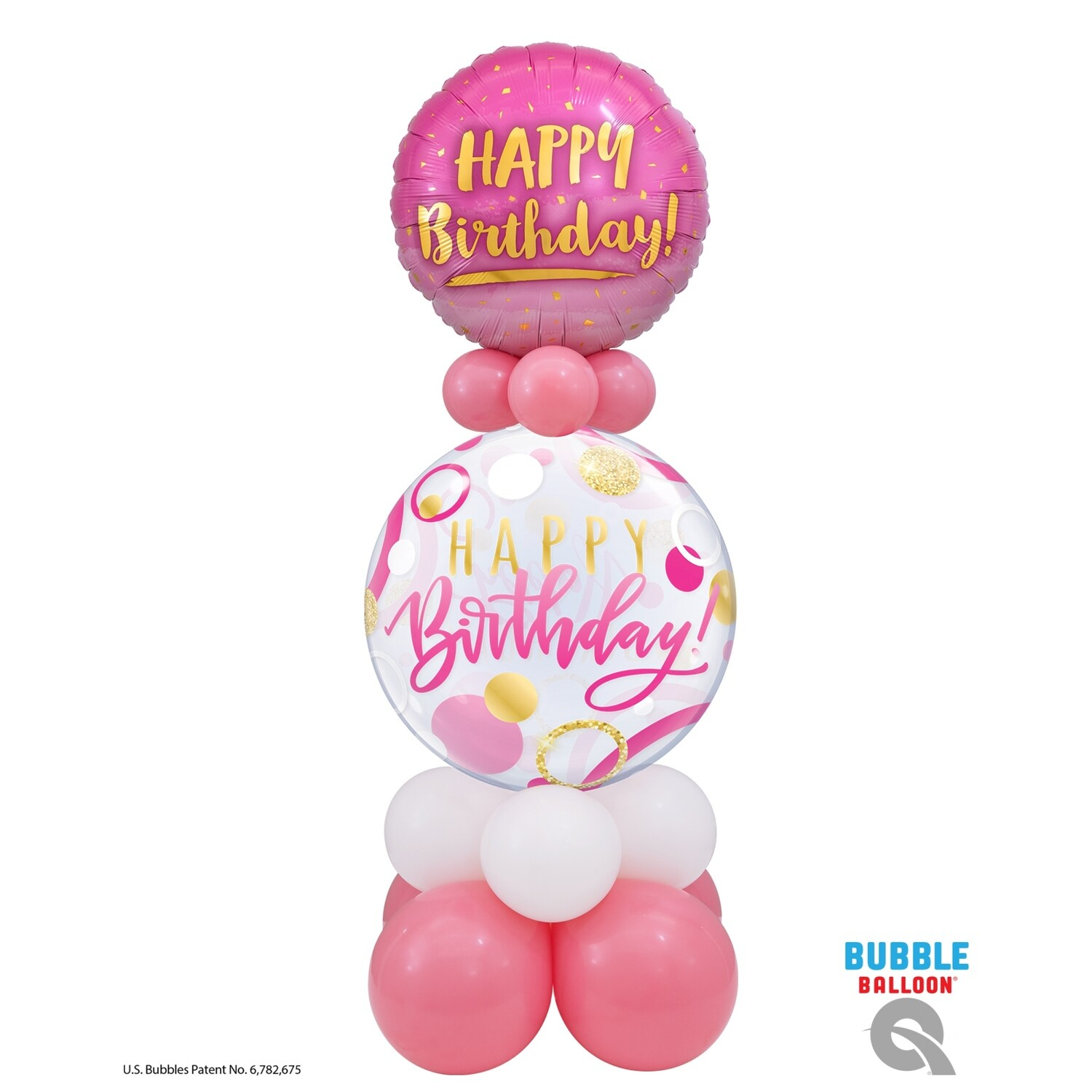 Happy Birthday Pink & Gold Balloon Bouquet Designs