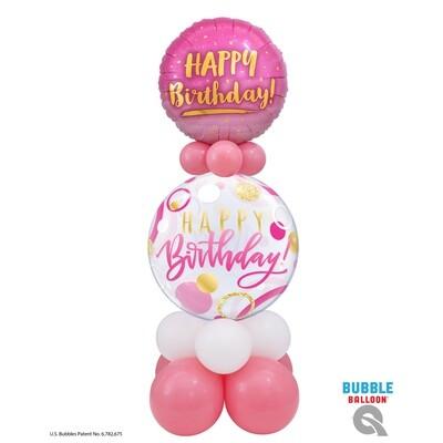 Happy Birthday Pink & Gold Balloon Bouquet Designs