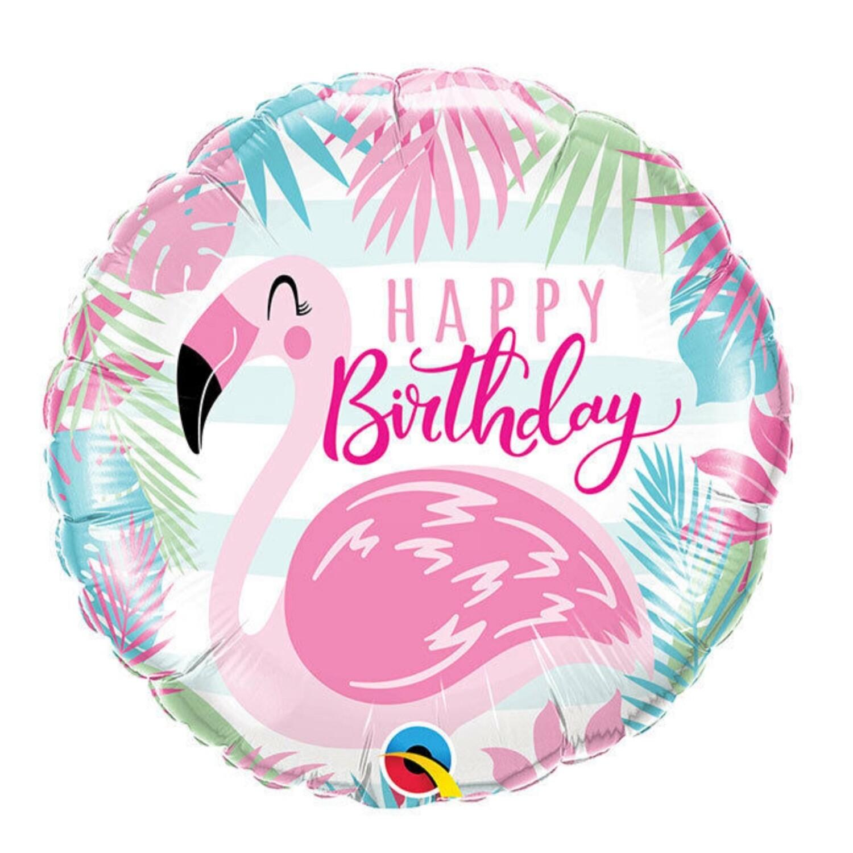 "18"" ""Happy Birthday"" Pink Flamingo Balloon"