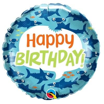 "18"" Fun Sharks Happy Birthday Balloon"