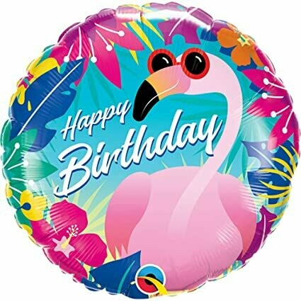 "18"" Tropical Flamingo ""Happy Birthday"" Balloon"
