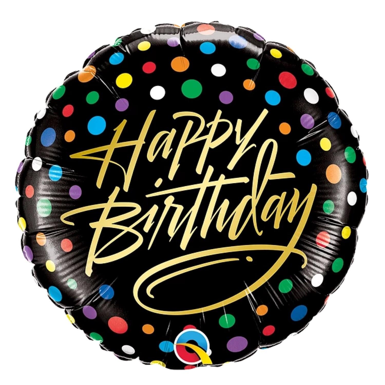 "18"" Happy Birthday Gold Script & Dots Balloon"