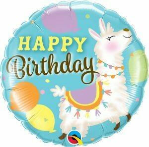 "18"" Happy Birthday Llama Design Balloon"
