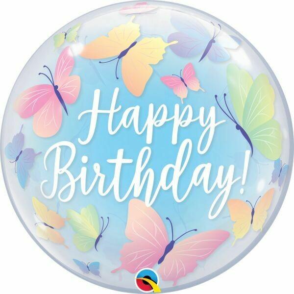 "22"" Happy Birthday Soft Butterfly Bubble Balloon"
