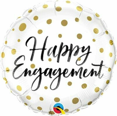"""18"""" Happy Engagement Gold Dots Balloon"""