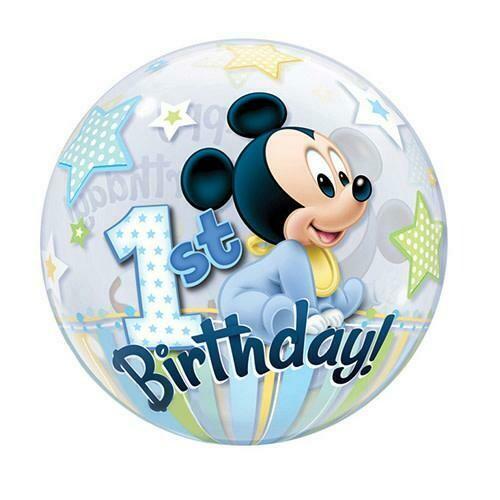 "22"" Disney Mickey Mouse 1 Year B-Day Bubble Balloon"