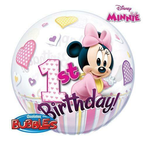 "22"" Disney Minnie Mouse 1 Year Birthday Bubble Balloon"