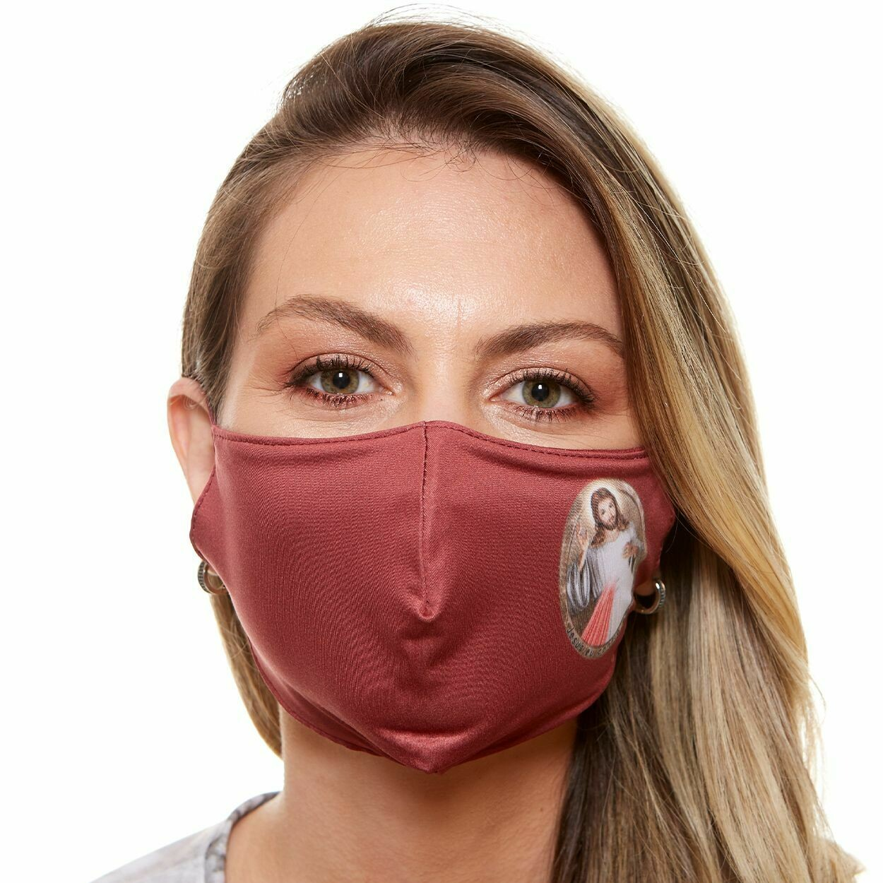 MDA6027 - Divine Mercy of Jesus Face Mask (Red)