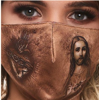 MDA014 - The Sacred Heart and Jesus Face Mask