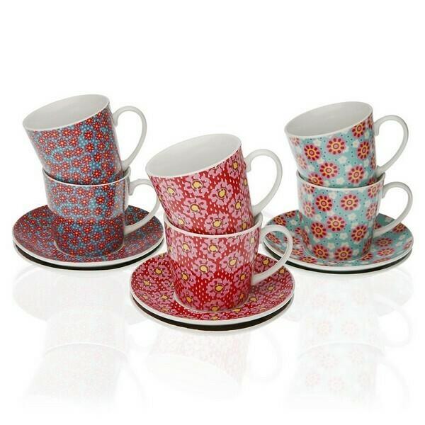 Piece Coffee Cup Set Rozanne Porcelain (6 Pieces)
