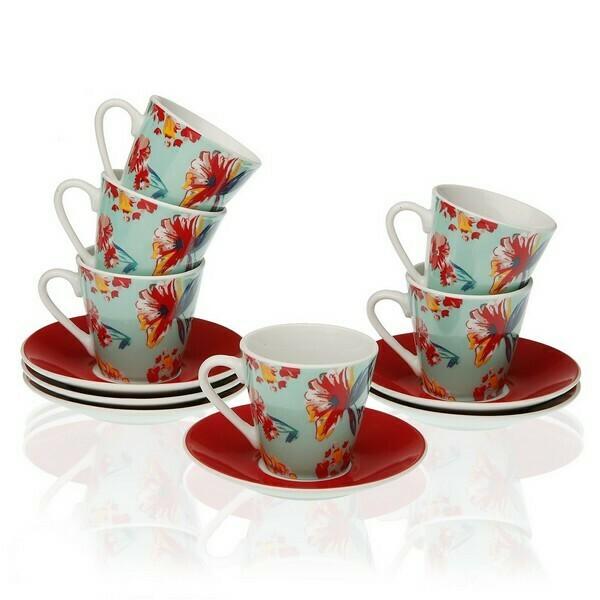 Piece Coffee Cup Set Paradise Porcelain (6 Pieces)