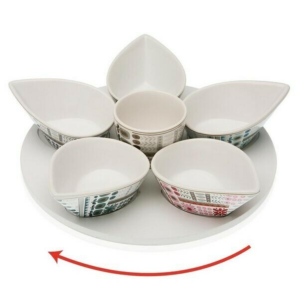 Appetizer Set Ayanda Porcelain MDF Wood (6 uds)
