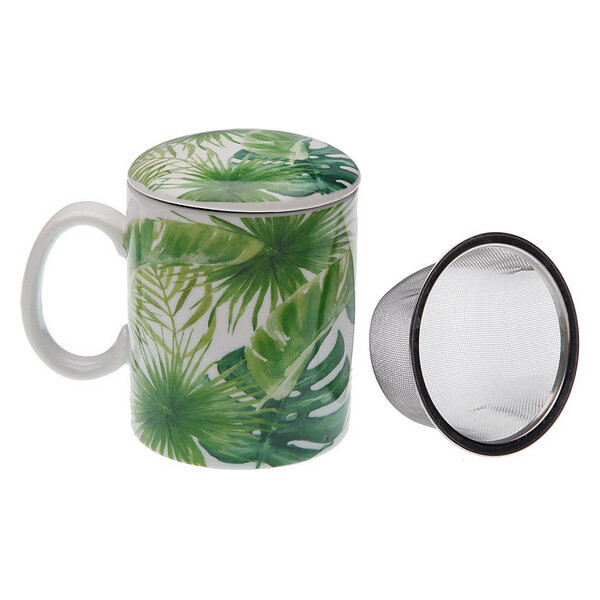 Cup with Tea Filter New Leaves Porcelain