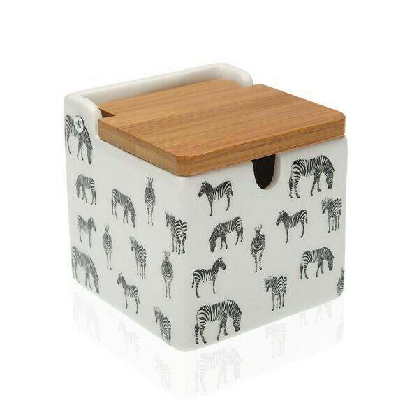 Sugar Bowl Ceramic Bamboo Zebra