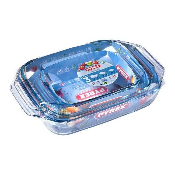 Set of Oven Dishes Pyrex Transparent Borosilicate Glass (3 pcs)