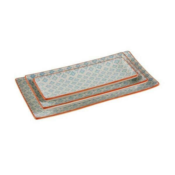 Serving Platter Porcelain Blue Rectangular