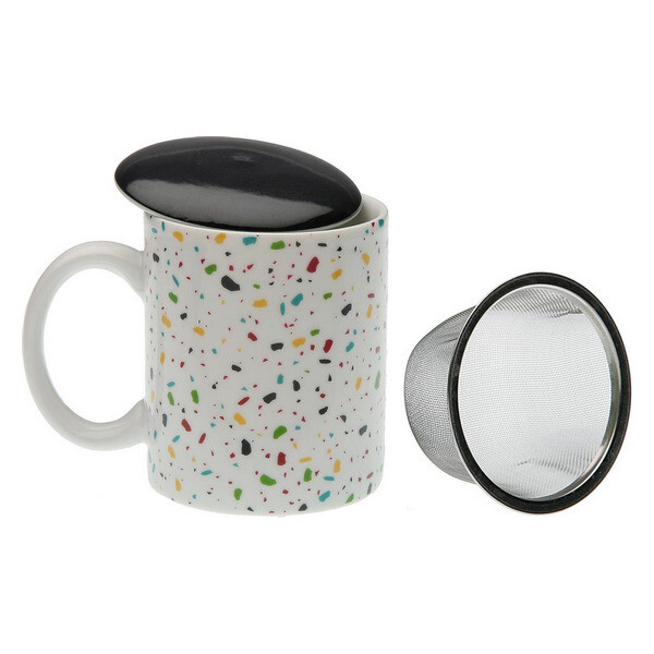 Cup with Tea Filter Vivid Terrazzo Porcelain