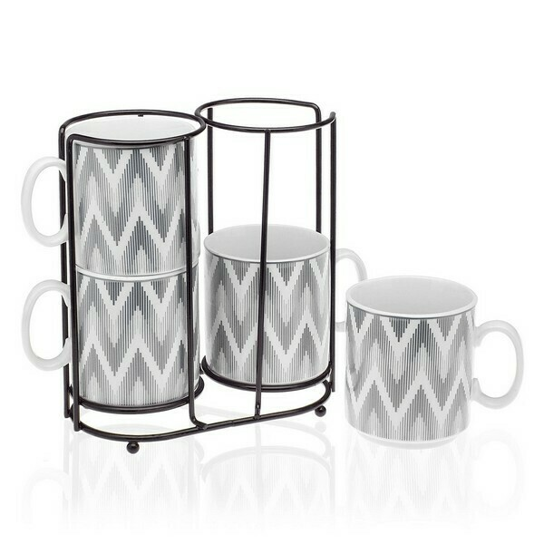 Set of Mugs Metal Porcelain (4 Pieces)