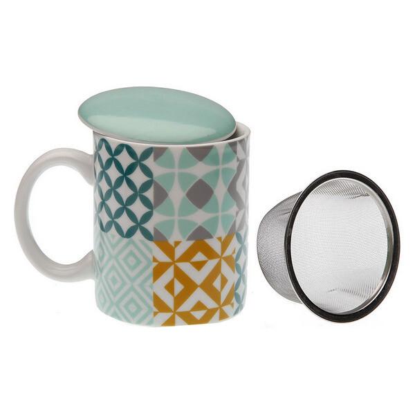 Cup with Tea Filter Aqua Karlsen Porcelain