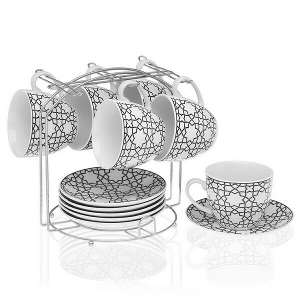 Piece Coffee Cup Set Metal Porcelain (6 Pieces)