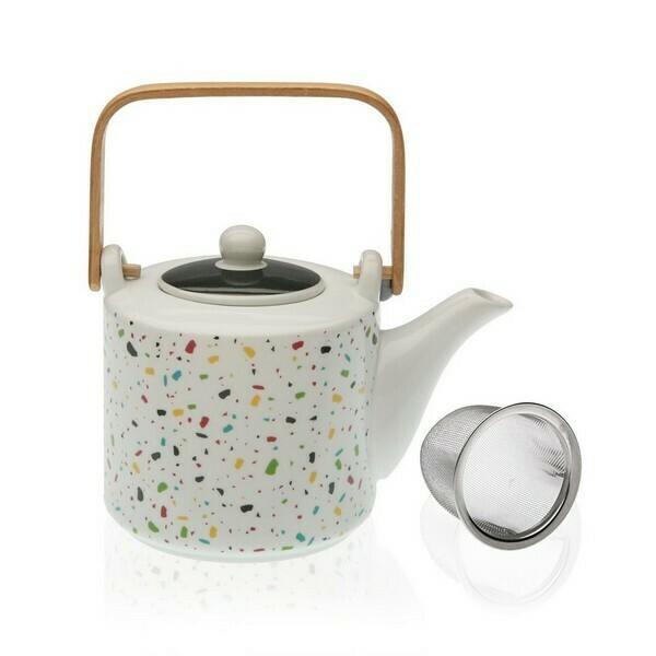 Teapot Terrazzo Bamboo Porcelain (10,5 x 15 x 11,5 cm)