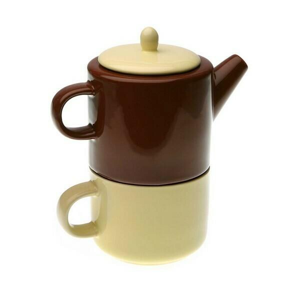 Teapot Stoneware (9,5 x 18 x 15 cm) Bicoloured