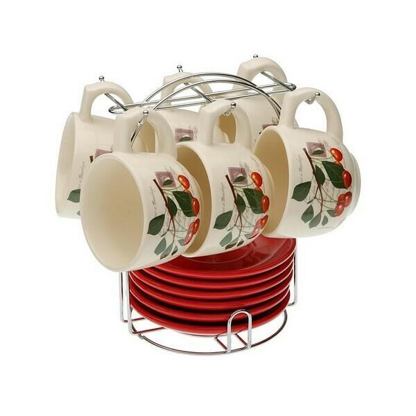 Piece Coffee Cup Set Porcelain (220 ml) (6 Pieces)