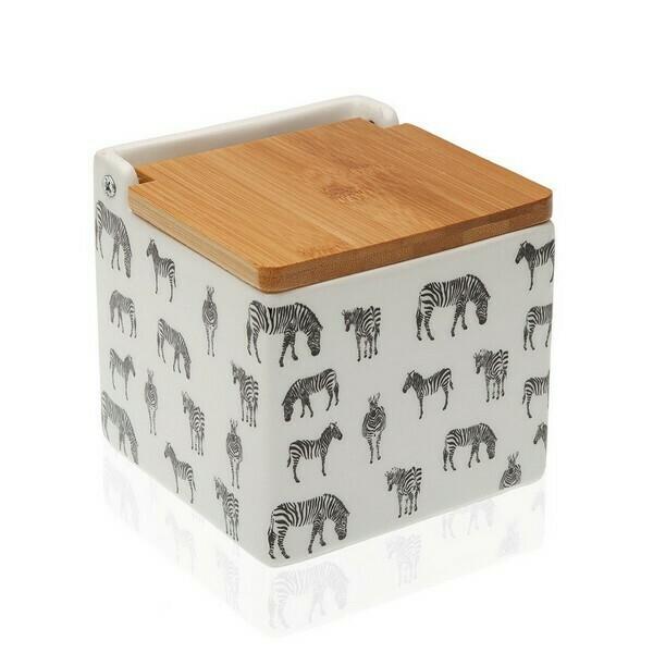 Salt Shaker with Lid Zebra Ceramic Bamboo