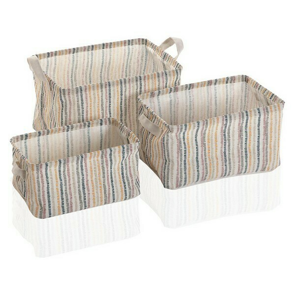 Basket set Corduroy Textile Polyester (3 Pieces) (25 x 22 x 35 cm)