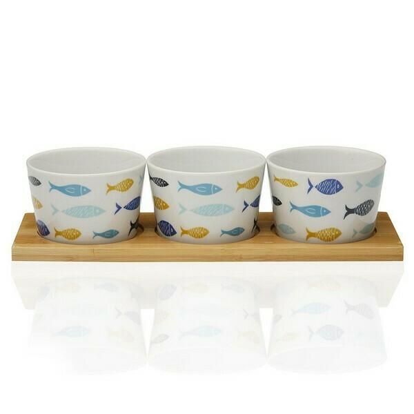 Appetizer Set Blue Bay Bamboo Porcelain (3 Pieces)