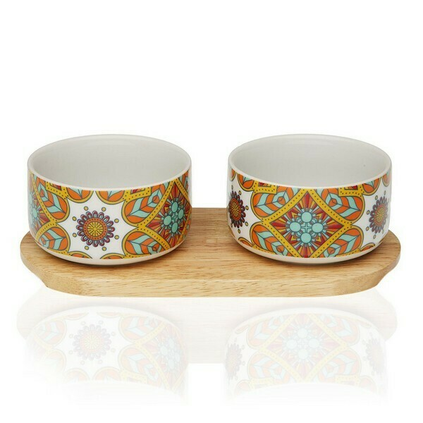 Appetizer Set Aubrey Bamboo Porcelain (2 Pieces)