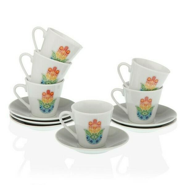 Piece Coffee Cup Set Hamsa Porcelain (12 Pieces)