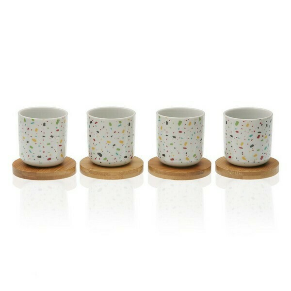 Piece Coffee Cup Set Vivid Terrazzo Bamboo Porcelain (4 pcs)