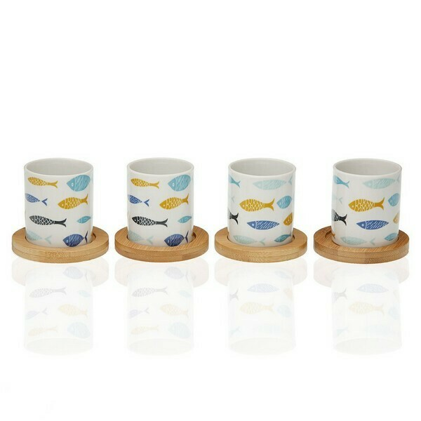 Piece Coffee Cup Set Blue Bay Bamboo Porcelain (4 pcs)
