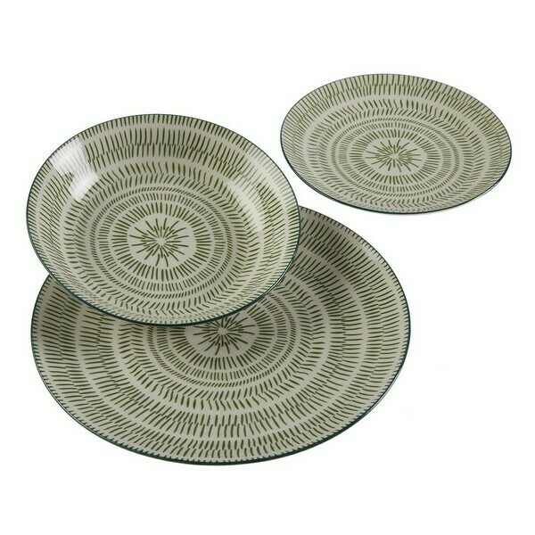 Tableware Spin Green Porcelain (18 Pieces)