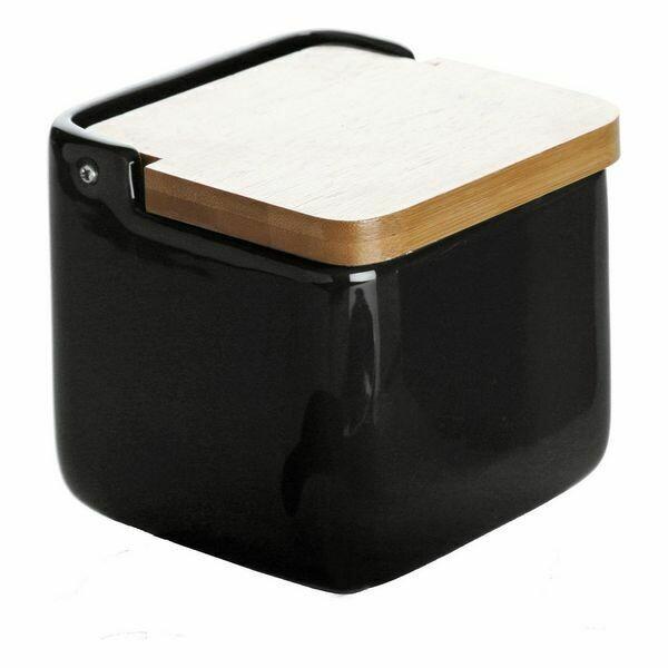 Salt Shaker with Lid Black Ceramic (11 x 11 x 11 cm)