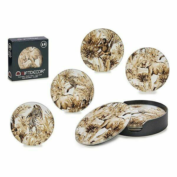 Coasters Crystal animals (4 uds) (Ø 10 cm)