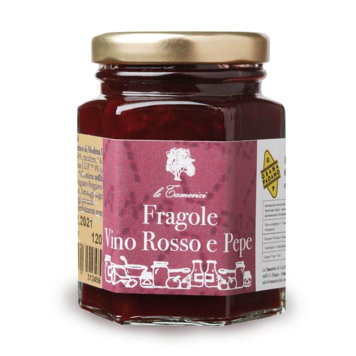 CONFETTURA DI FRAGOLE VINO ROSSO E PEPE 120 gr