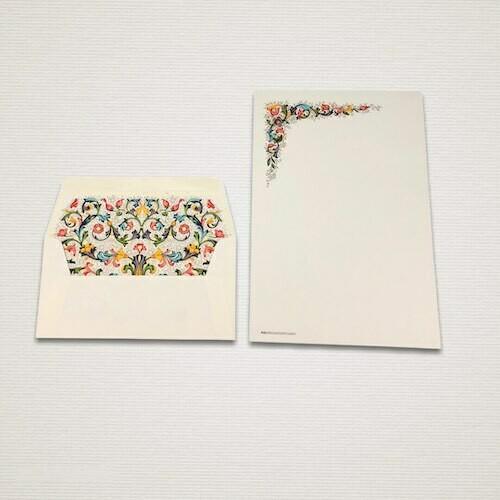 Carta da lettere 6 fogli e 6 buste FIORENZA con angolo decorato