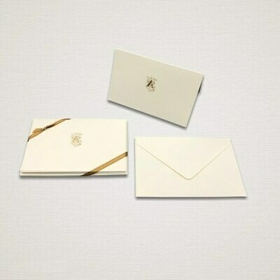 5 cards and 5 personalized envelopes with GOLD INITIAL