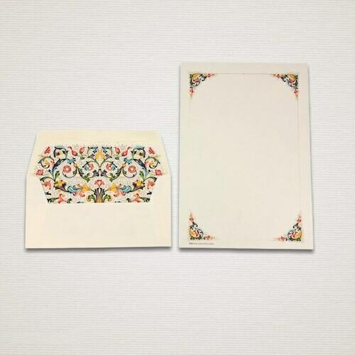 Carta da lettere 6 fogli e 6 buste FIORENZA con 4 angoli decorati