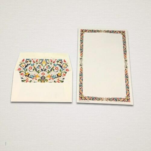 Carta da lettere 6 fogli e 6 buste FIORENZA con cornice