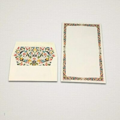 Writing paper 6 sheets of writing paper and 6 envelopes FIORENZA with a decorated frame