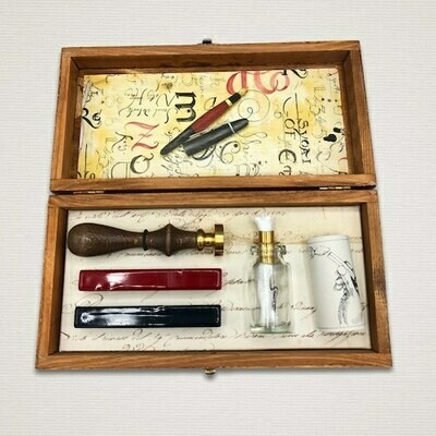 Wooden gift box with seal of your choice, sealing wax and burner