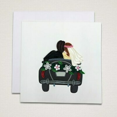 Greeting card 'WEDDING COUPLE IN CAR'