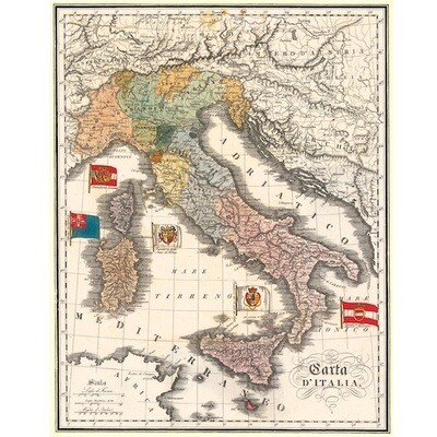 Poster MAP OF ITALY VINTAGE
