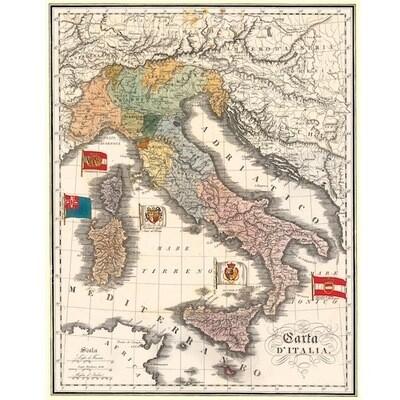 Poster MAPPA D'ITALIA VINTAGE