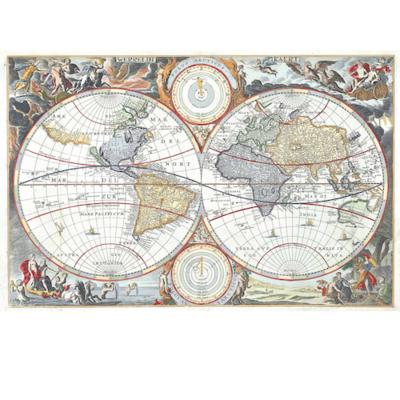 Poster WORLD MAP HEMISPHERES
