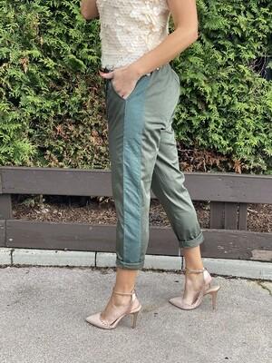 'Shimmer' Khaki Pants with Side Panel